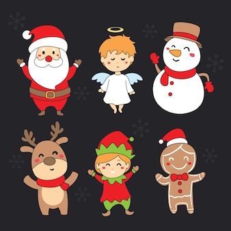 Kolekcja ręcznie rysowane postacie świąteczne