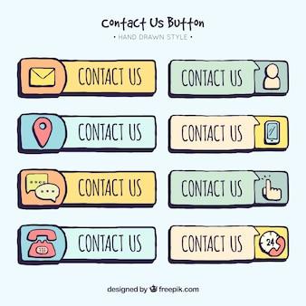 Kolekcja ręcznie rysowane przycisków kontaktowych