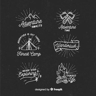 Kolekcja ręcznie rysowane przygodowe loga