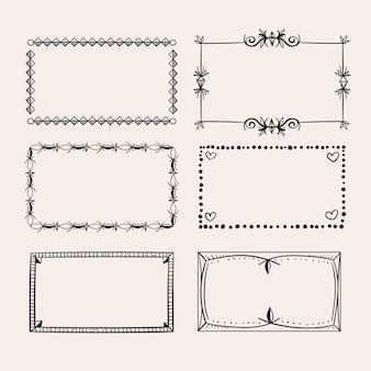 Kolekcja ręcznie rysowane ramki doodle