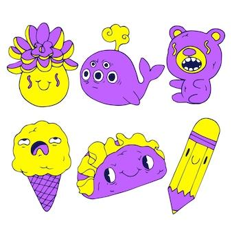 Kolekcja ręcznie rysowane śmieszne naklejki w kwasowych kolorach