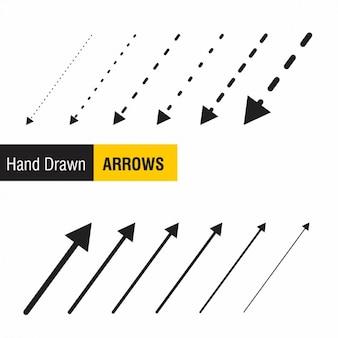 Kolekcja ręcznie rysowane strzałki