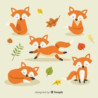 Kolekcja ręcznie rysowane stylu lisa