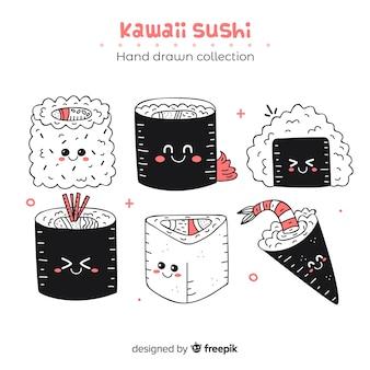 Kolekcja ręcznie rysowane sushi kawaii