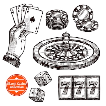 Kolekcja ręcznie rysowane szkic kasyno