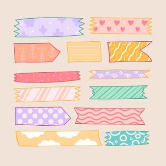 Kolekcja ręcznie rysowane taśmy washi