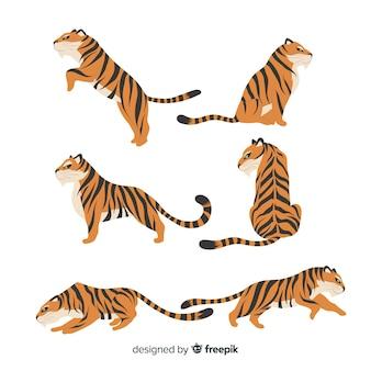 Kolekcja ręcznie rysowane tygrysy