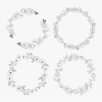 Kolekcja ręcznie rysowane wieńce kwiatowe