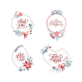 Kolekcja ręcznie rysowane wieńce świąteczne z tekstem xmas. gałęzie jodły, czerwone jagody, liście.