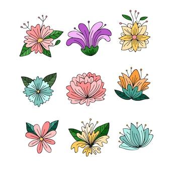 Kolekcja ręcznie rysowane wiosenne kwiaty