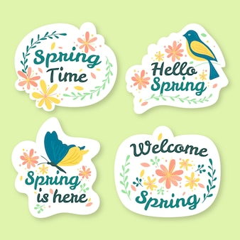 Kolekcja ręcznie rysowane wiosna odznaka