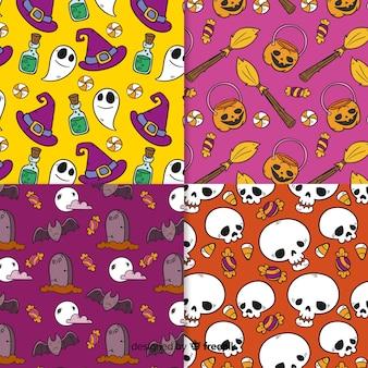 Kolekcja ręcznie rysowane wzór halloween
