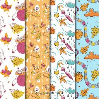 Kolekcja ręcznie rysowane wzór jesień