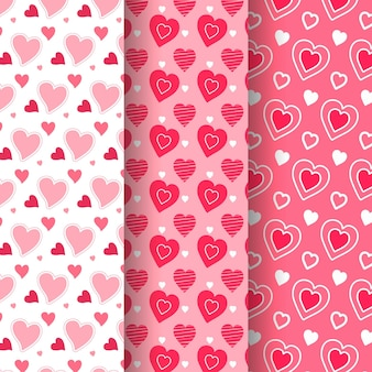 Kolekcja ręcznie rysowane wzory słodkie serca