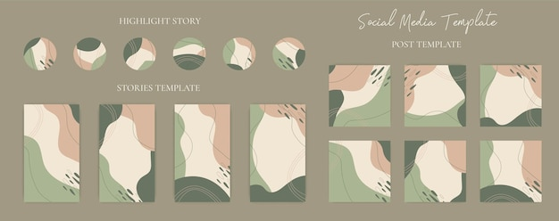 Kolekcja ręcznie rysowane zestaw abstrakcyjnych organicznych kształtów postów w mediach społecznościowych i wyróżnij szablon ikony