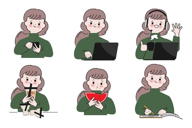 Kolekcja ręcznie rysowane zestaw znaków ładny kobieta ilustracje wektorowe w stylu doodle