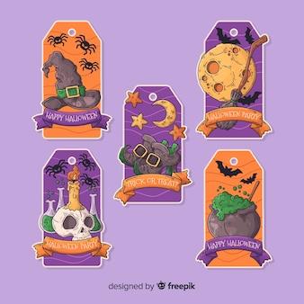 Kolekcja ręcznie rysowane znaczek halloween