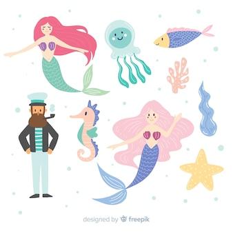 Kolekcja ręcznie rysowane znaków morskich