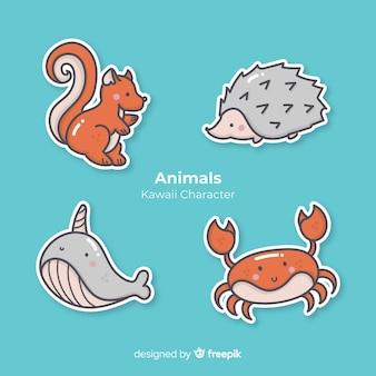Kolekcja ręcznie rysowane zwierząt kawaii
