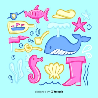Kolekcja ręcznie rysowane zwierzęta morskie