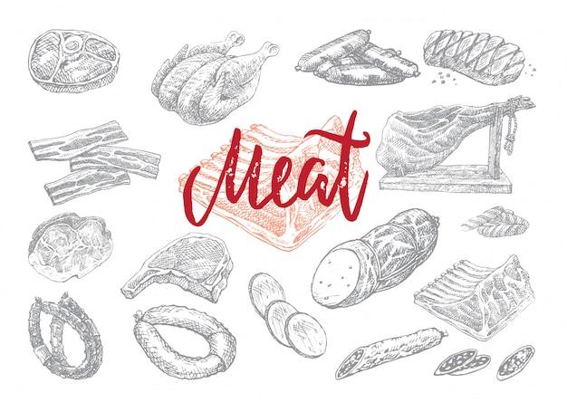 Kolekcja ręcznie rysowane żywności
