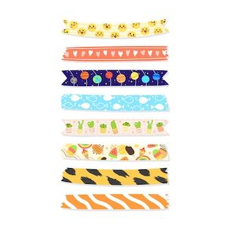 Kolekcja ręcznie rysowanej taśmy washi.