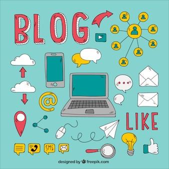 Kolekcja ręcznie rysowanych elementów bloga