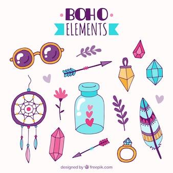 Kolekcja ręcznie rysowanych elementów boho