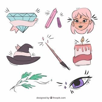 Kolekcja ręcznie rysowanych elementów czarownic