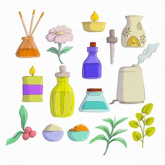 Kolekcja ręcznie rysowanych elementów do aromaterapii