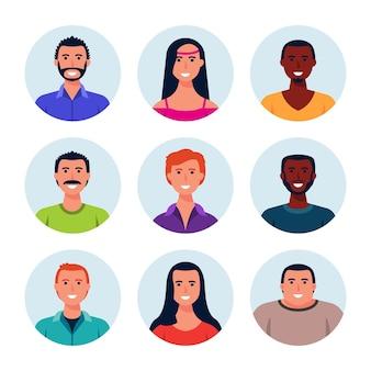 Kolekcja ręcznie rysowanych ikon profilu różnych osób