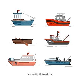 Kolekcja ręcznie rysowanych łodzi rybackich