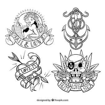 Kolekcja ręcznie rysowanych marynarskich tatuaży