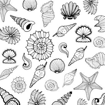 Kolekcja ręcznie rysowanych muszli