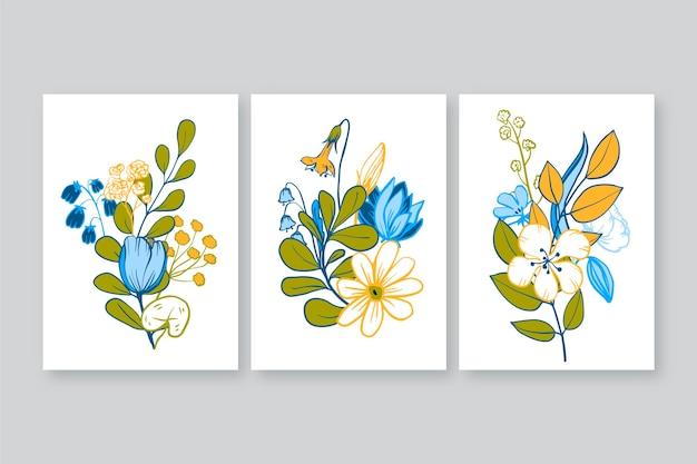Kolekcja ręcznie rysowanych okładek kwiatowych