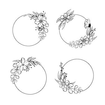 Kolekcja ręcznie rysowanych ramek kwiatowych
