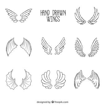 Kolekcja ręcznie rysowanych skrzydeł