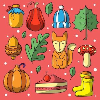 Kolekcja ręcznie rysowanych ślicznych jesiennych naklejek