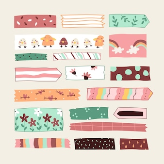 Kolekcja ręcznie rysowanych taśm washi