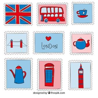 Kolekcja ręcznie rysowanych znaczków londyńskich