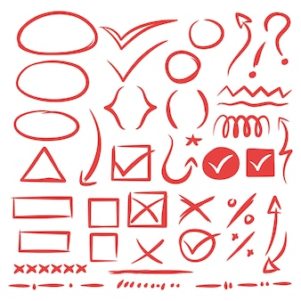Kolekcja ręcznie rysowanych znaków szkicu doodle, strzałki, serca, kształty, kleszcze