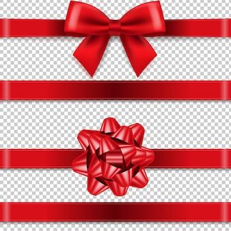 Kolekcja red bows na białym tle przezroczyste tło
