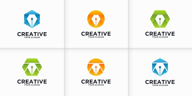 Kolekcja referencyjna logo pióra dla biznesu, aplikacji, edukacji i innych