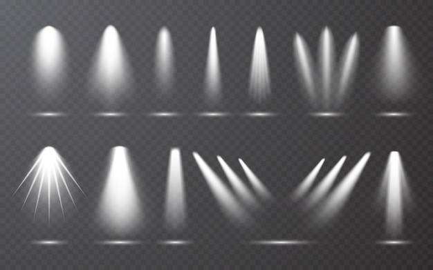 Kolekcja reflektorów na przezroczystym bakground