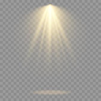 Kolekcja reflektorów scenicznych, scena, duża kolekcja oświetlenia scenicznego, efekty świetlne projektora, jasne żółte oświetlenie z reflektorami, pojedyncze światło punktowe, wektor.