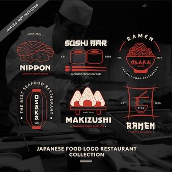 Kolekcja restauracji japońskie logo żywności