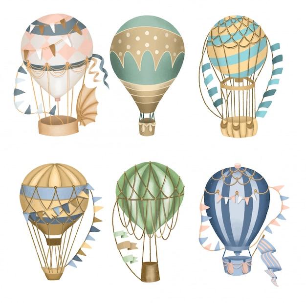 Kolekcja retro balonów na ogrzane powietrze, ręcznie rysowane na białym tle.