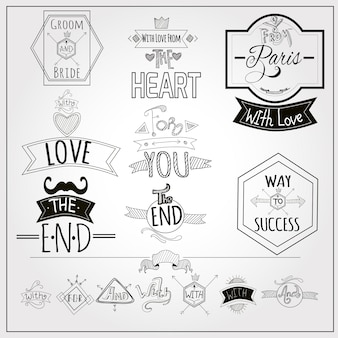 Kolekcja retro doodle tablice herby tablicy