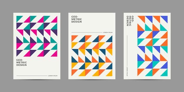 Kolekcja retro geometryczne szablon okładki