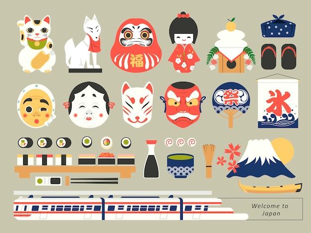 Kolekcja retro japońskich elementów kultury